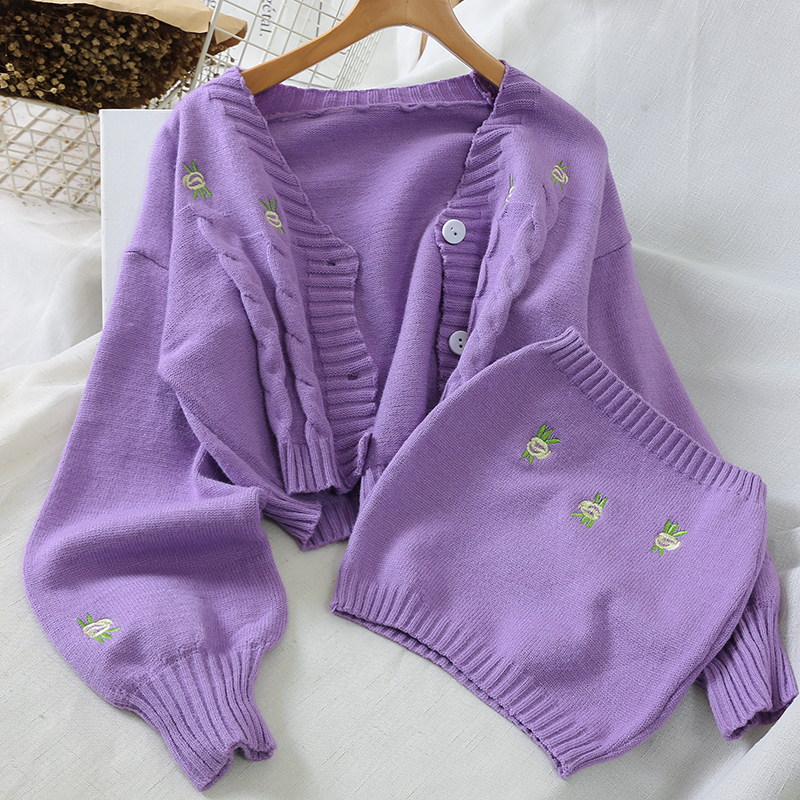 Cardigans Women Fashion Embroidery Sweater 2020 New Autumn Winter Laides Knit Loose Casual Joker Crop Top Korean Matching Chest
