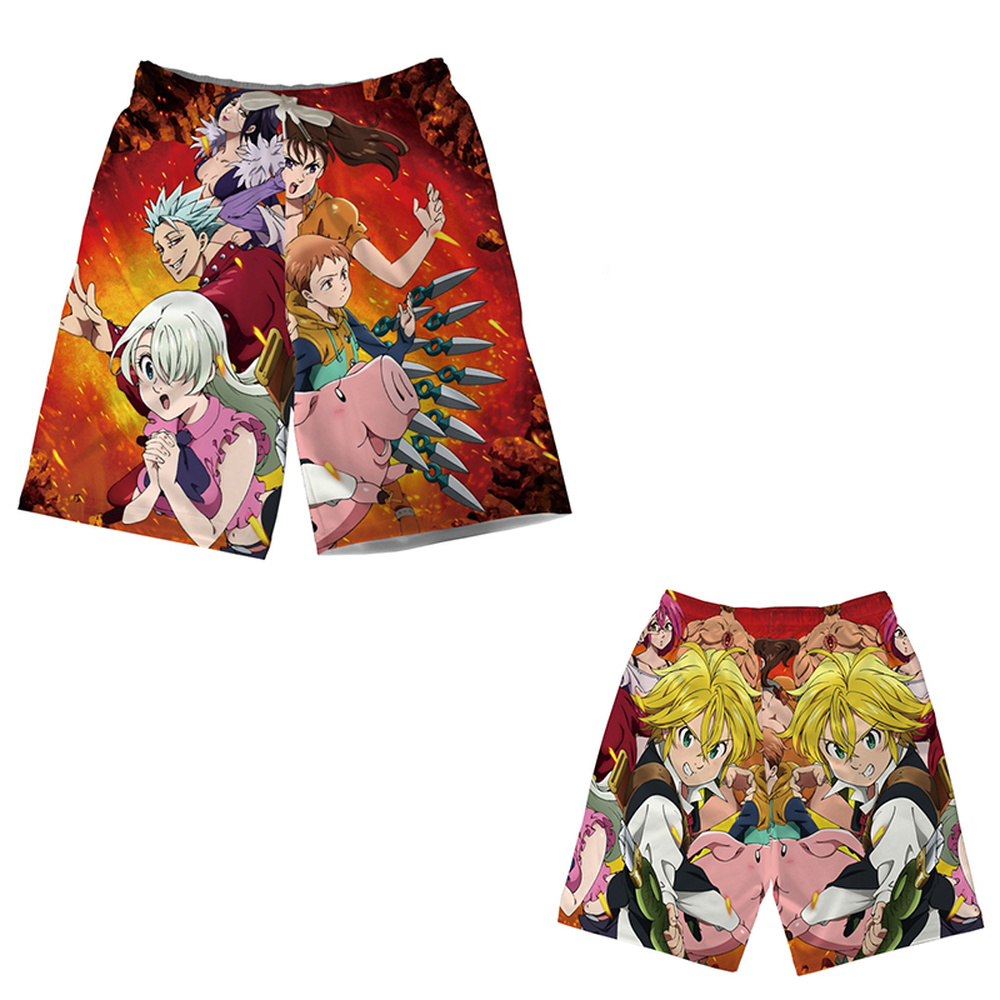 Anime The Seven Deadly Sins Beach Shorts Meliodas 3D Print Teenager Men Quick-drying Surfing Pants Boardshorts Modal Streetwear