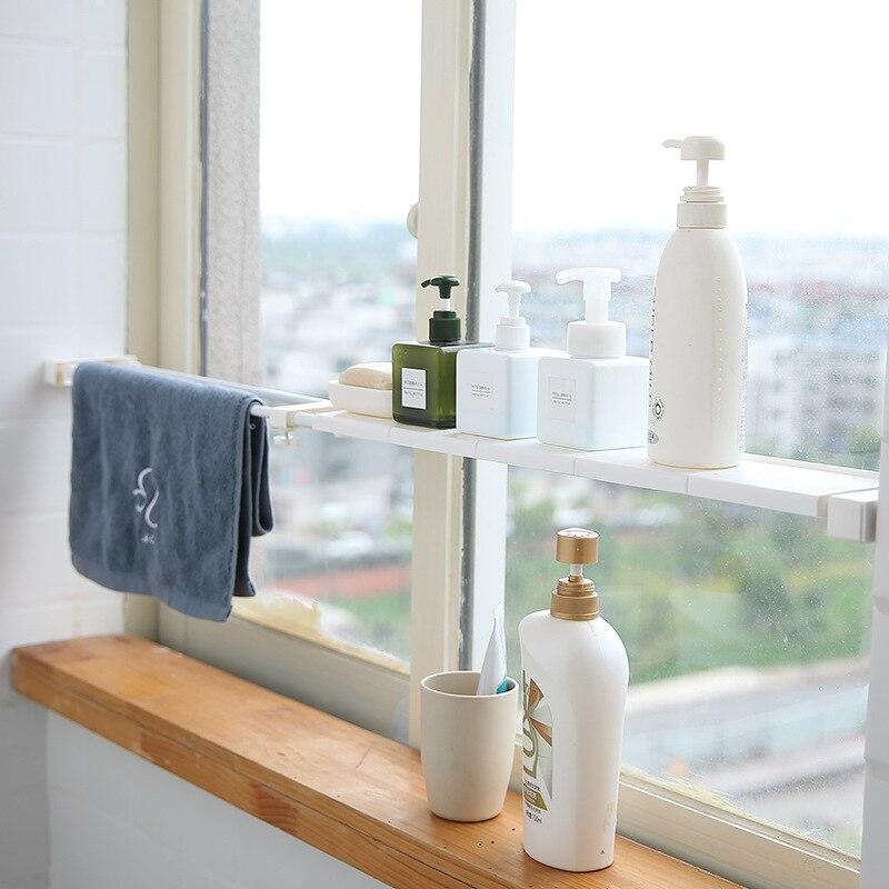 Retractable Windowsill Storage Shelf Stainless Steel Cabinet Storage Holder Rustproof Bathroom Rack Kitchen Organizer Accessorie