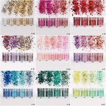 Tırnak sanat Glitter 3D MIX renk parlak tırnak tozu pul toz konfeti tırnak pullu Lentejuelas Para Manualidades 5 kutu/Set