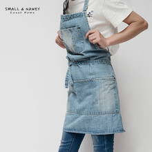 GOOPEEG Nordic industrial style original personality denim apron office studio gourmet baking kitchen waiter bib overalls(China)
