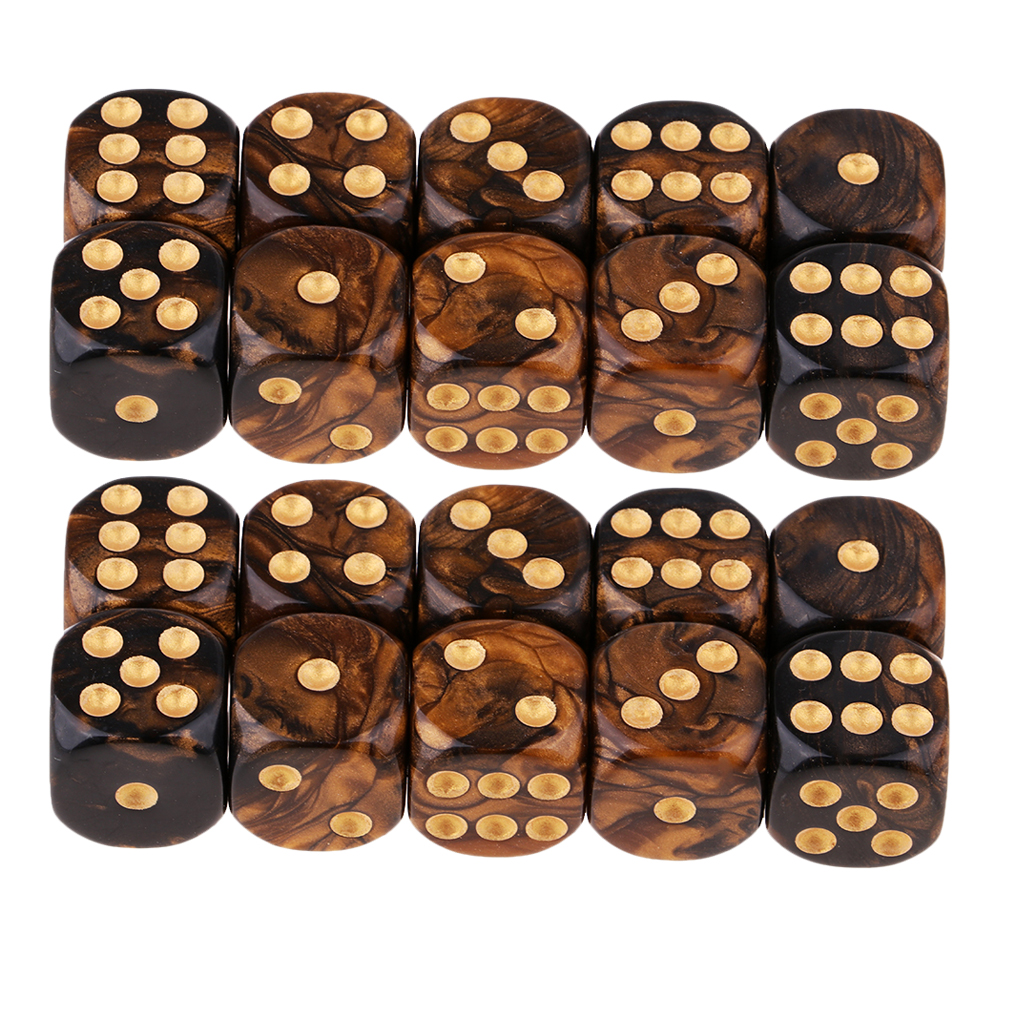 Set di dadi da gioco in resina a sei facce a due colori in due pezzi nero dorato
