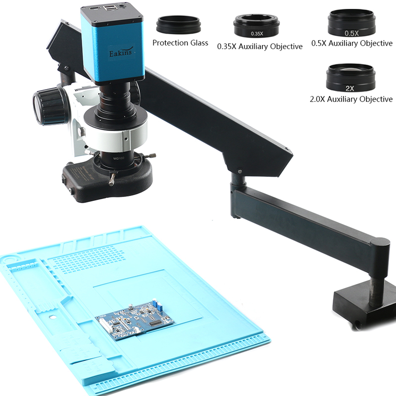 2020 Rotable Articulating Clamp Arm Stand 200X Zoom Lens SONY IMX290 Auto Focus Industry HDMI Measuring Video Microscope Camera