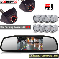 Koorinwoo Full Kit Car Video Buzzer Parktronic Dynamic Trajectory Guide Camera Rear Sensor Front 8 Reverse Car Radar Back System