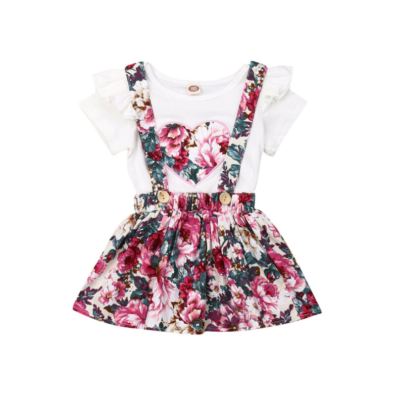 Infant Toddler Kid Baby Girl Clothes Casual Heart Shape T-shirt Tops Floral A-line <font><b>Bib</b></font> <font><b>Skirts</b></font> Suspender Dress Kids 2Pcs Set image