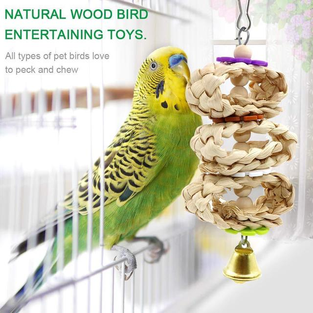 8pcs set Wooden Parrot Chewing Toy -Swing -Soft Ladder- Wooden Bead- Spiral Staircase 3