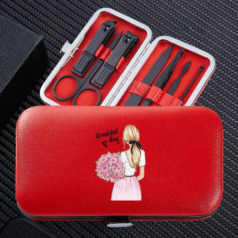 moda menina 7 pcs conjuntos de manicure clipper prego portatil viagem aco inoxidavel aparador clippers cortador