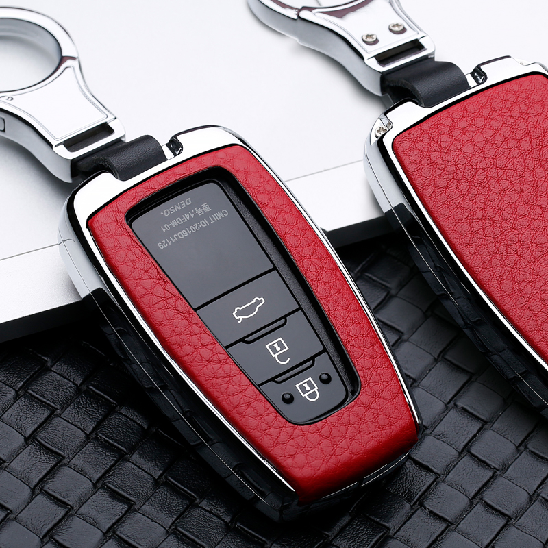 2 34 Button Galvanized Alloy Leather Car Key Case Cover Shell For Toyota CHR C-HR Prado Camry Avalon Prius Corolla RAV4 Keychain