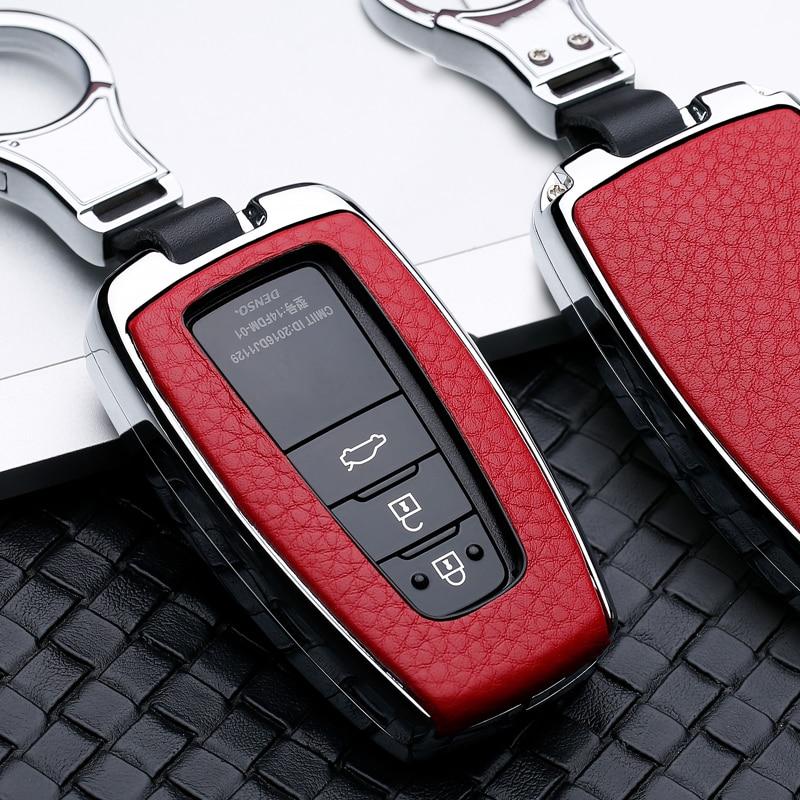 2 34 Button Galvanized Alloy Leather Car Key Case Cover Shell For Toyota CHR C-HR Prado Camry Avalon Prius Corolla RAV4 Keychain
