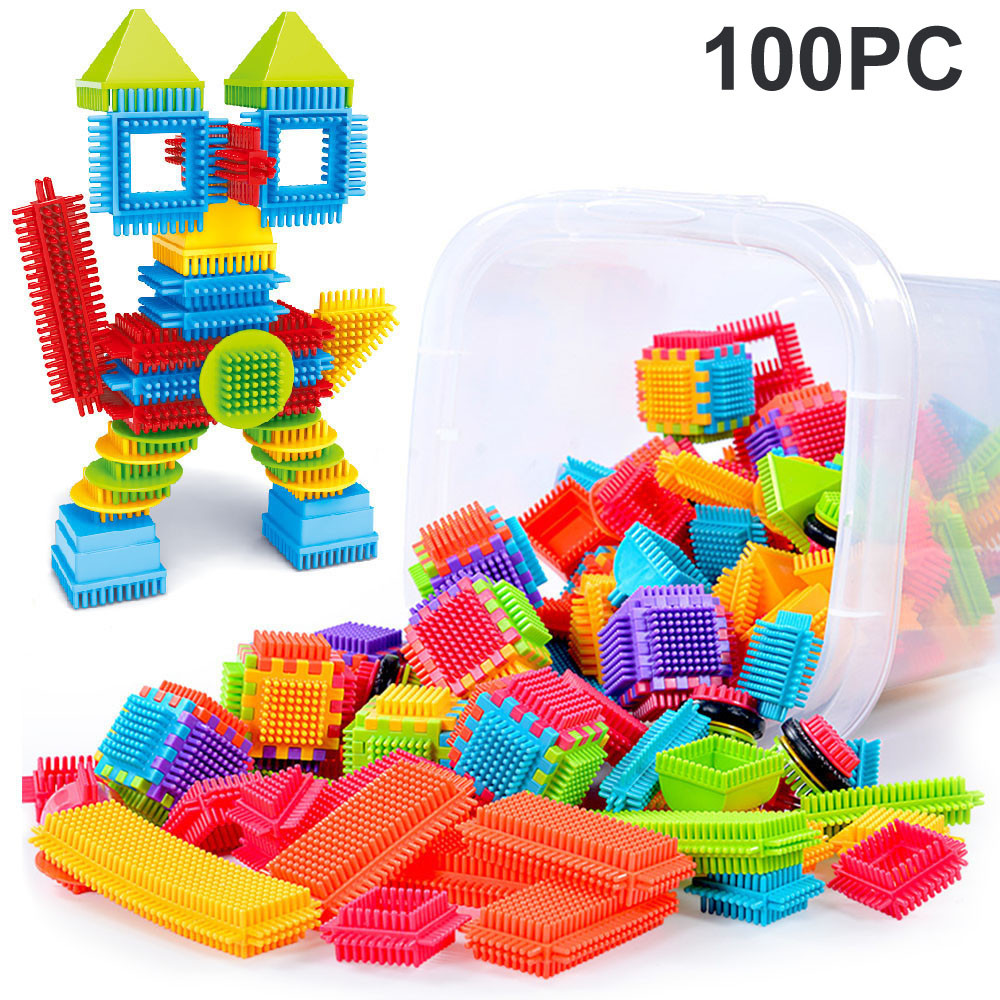 100pcs Bristle Shape 3d Building Blocks Tiles Construction Playboards Toys Children Early Learning Educational Toys Kids Gift