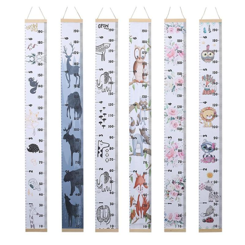 Removable Household Canvas Baby Child Kids Decorative Growth Chart Height Measure Ruler Hanging Prop With Stick