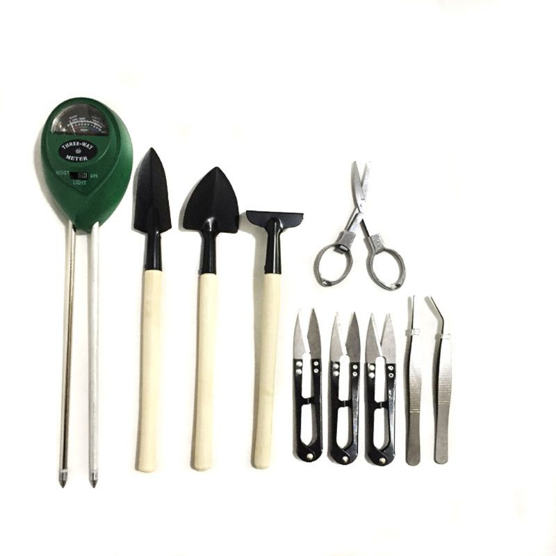 12 In 1 Soil Meter (3-in-1 Moisture Sensor/Sunlight/pH,9pcs Bonsai Tools) Include Pruner, Fold Scissors, Mini Rake, Bud & Leaf
