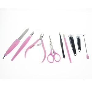 9 in 1 Professional Manicure Pedicure Set Kit Tool Include Nail File Clipper Pusher Scissor Tweezer Earpick Cuticle Nipper Shear