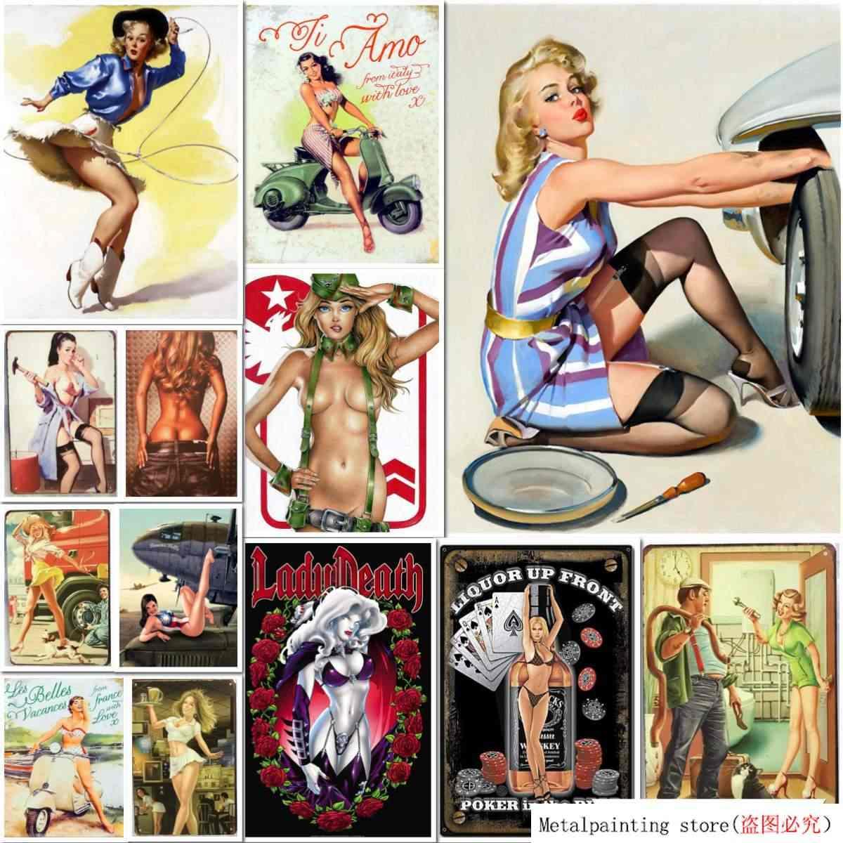 Sexy Nudo Ragazza Segni In Metallo Vintage Poster Banda Bacio Placca Autoadesivo Della Parete Della Decorazione Della Casa Della Pittura Classica Piastra Bar Club Decor