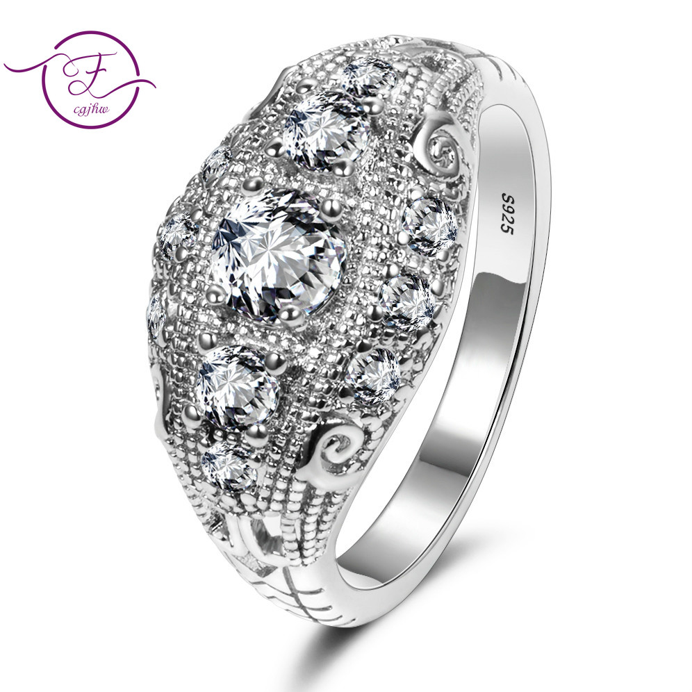 Romantic Luxury Wedding Rings With AAA Cubic Zircon Crystal Ring For Women New Brand 925 Silver Wedding Anniversary Jewelry Gift