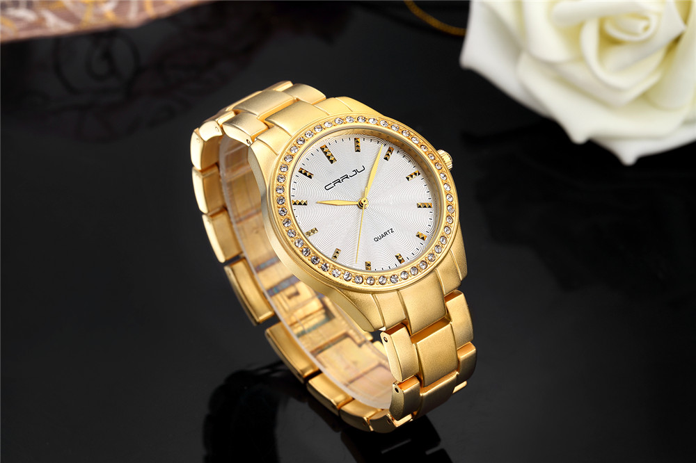 Fashion Women Watches Top Brand Luxury CRRJU Clock female Gold Steel Army Military Quartz Watch Ladies Sport Relogio Masculino|Women's Watches| |  - title=