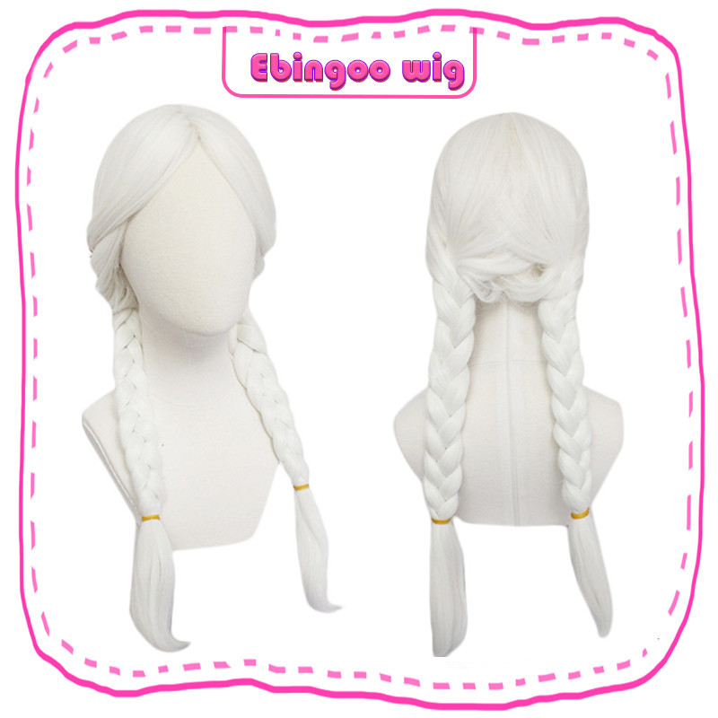 Ebingoo Mama Coco Inspired Snow White Long Braided Synthetic Cosplay Wig Pigtails With Long Inclined Bangs Prestyled Women Wigs