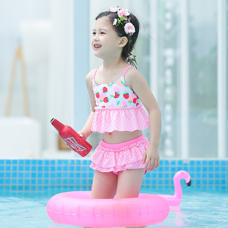2020 New Style KID'S Swimwear Big Boy Pink Strawberry Four-piece Set Cute GIRL'S Split Type Hot Springs Swimwear