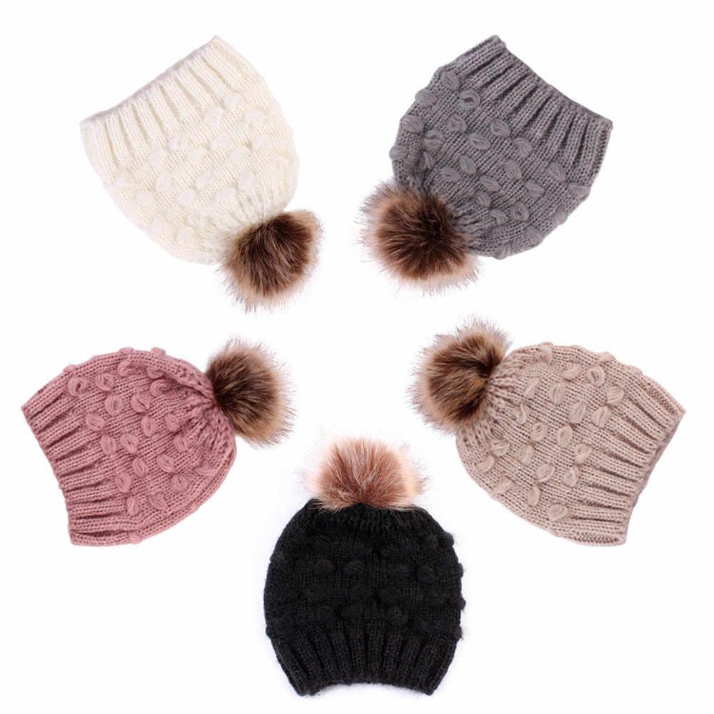 ขายร้อนเด็กหมวกฤดูหนาว 2019 น่ารักเด็กวัยหัดเดินเด็กสาวเด็กชายฤดูหนาวหมวกอบอุ่นเด็กทารกโครเชต์ถักหมวก Beanie หมวก menina