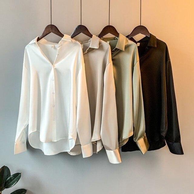 High Quality Elegant Imitation Silk Blouse Spring Women Fashion Long Sleeves Satin Blouse Vintage Femme Stand Street Shirts 3