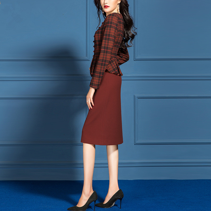 Women Suits Elegant Office Ladies Formal Work Business Wear Vintage Plaid Blazer Jacket Plus Size Knee Length Dress 2 Piece Set