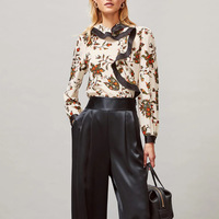 2020 spring new ruffles sleeve retro flower print women long sleeve 100% silk shirt