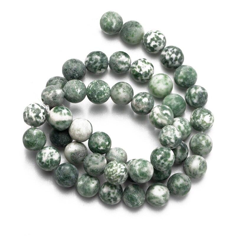 Оптовая продажа тусклый полированный натуральный камень матовый зеленый точечный бисер 4 6 8 10 12 мм Сделай Сам изготовление браслета ожерель...