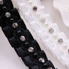 1Yard White Black Pearl Beaded Lace Ribbon Trim Embroidered Lace Fabric Beaded Fringe Clothing Accessories Wedding Dress Ribbons цены онлайн