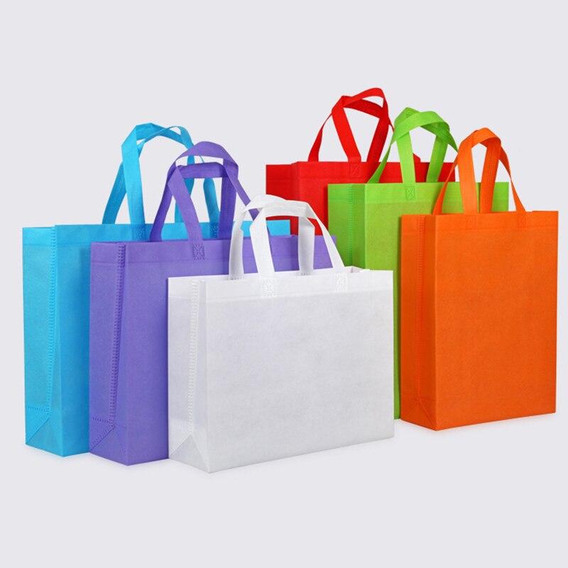 Bolsas de Compras Cor de Doces Nova Não-tecido Bolsa Mercado Personalizado Reciclado Bolsalas Reutilizáveis