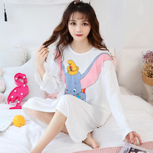 Cotton nightdress Cute Cartoon Dumbo Printed Nightdress Spring-Summer O-Neck Night