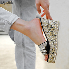 Ladies Slippers And Sandals Summer Rhinestone Sandals Pink Platform Wedges Shoes For Women Casual Wedge Sandals Woman Slippers bohemian sandals for women wedge shoes crystal decoration grey army green shoes ladies cute casual shoes rhinestone sandals