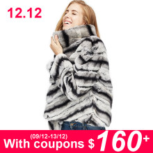 2019 hot sale women real natural rex rabbit fur coat high quality 100% genuine rex rabbit fur chinchilla color winter jacket(China)