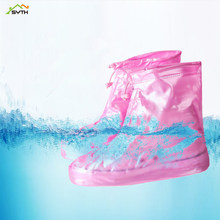 High Quality Men Women's Rain Waterproof Boots Cover Heels Boots Reusable Shoes Covers Thicker Non-slip Platform Rain Boots(China)