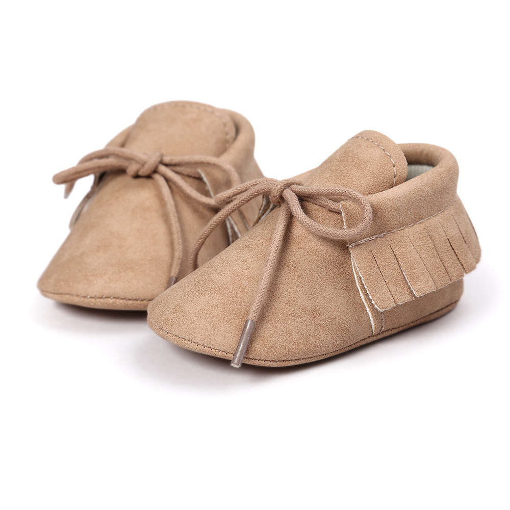 Baby Shoes Newborn Infant Boy Girl Classical Lace-up Tassels Suede Sofe Anti-slip Toddler Crib Crawl Shoes Moccasins 10-colors 5