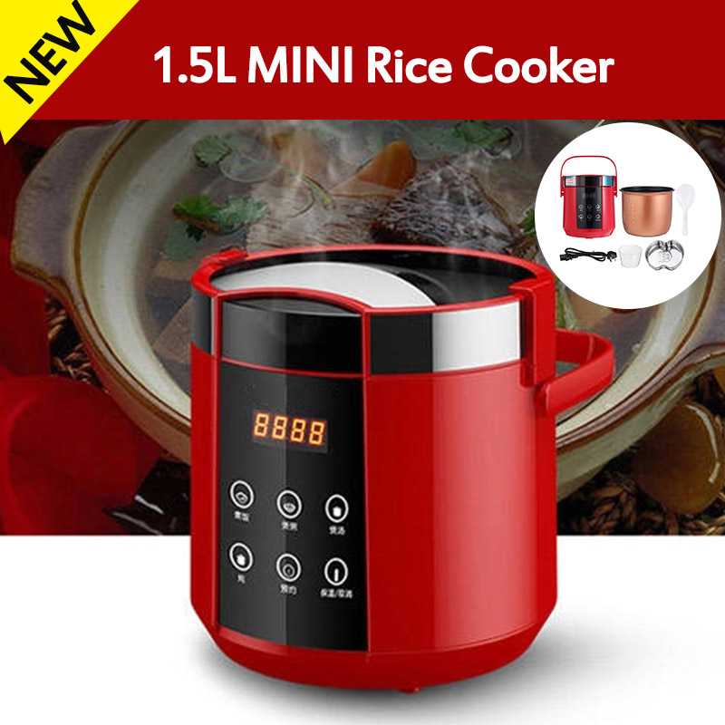 1.5L Mini Electric Rice Cooker 2 Layers Food Steamer Multifunction Meal Cooking Pot Fast Heating Lunch Box 24H Appointment 220V
