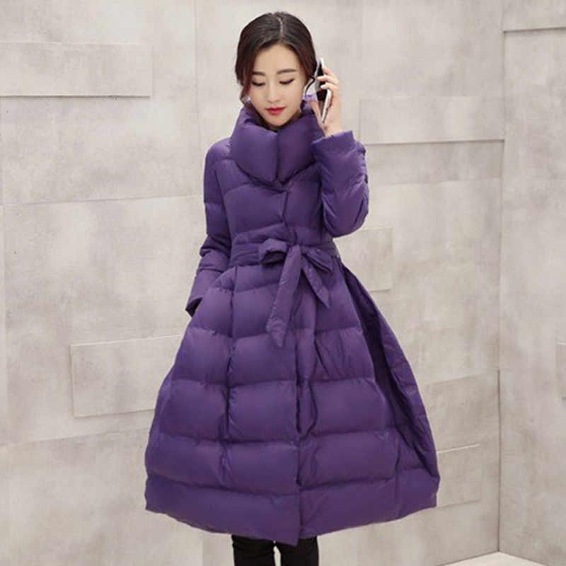 2019 yeni zarif bayan ceket kış aşağı pamuk ceketler kadın siyah uzun ceket ince sıcak Parkas giyim kadın giyim s-2XL