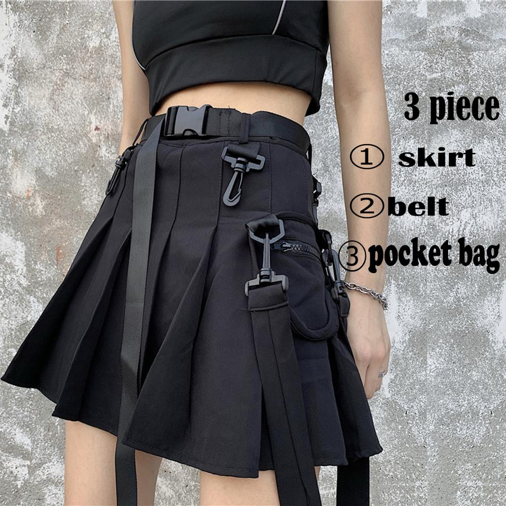 Elegant High Waist Belt Zipper Ribbon Pocket Pleated Mini Skirt Harajuku Streetwear Korean Women Gothic Hip Hop Cargo Punk Sexy