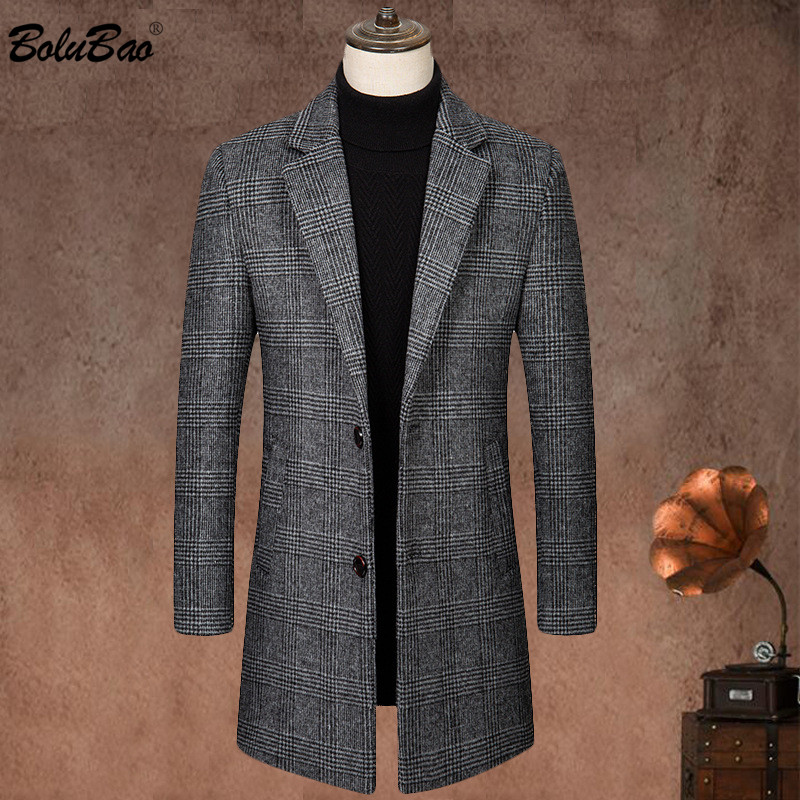 BOLUBAO New Winter Men Wool Blends Coats Quality Brand Men's Fashion Casual Long Section Overcoat Thick Warm Wool Coat Male