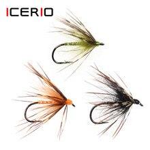 Icerio 6 pçs macio hackle mosca molhada tenkara nymph voar amarrando gancho truta pesca mosca iscas #12