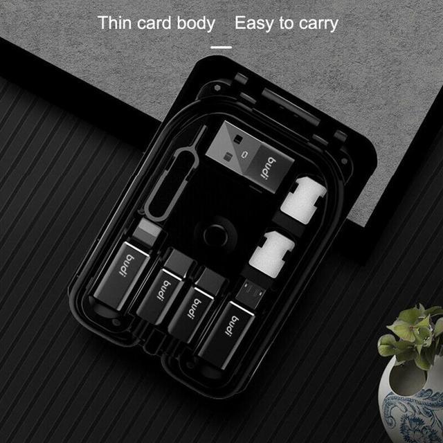 BUDI Multi-funzione Smart Card Adapter Cavo Di Dati di Archiviazione Box USB Caricabatterie Universale Senza Fili per il iPhone Xiaomi Huawei 4