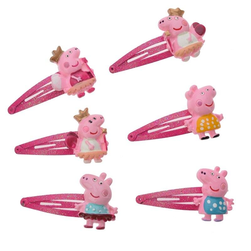 Peppa Pig Girl Hairpin Rubber Hair Accessories Bobby Pin Hair Rope Baby Kids Toys Hairpin Set Princess Baby Hairpin Kids Gift