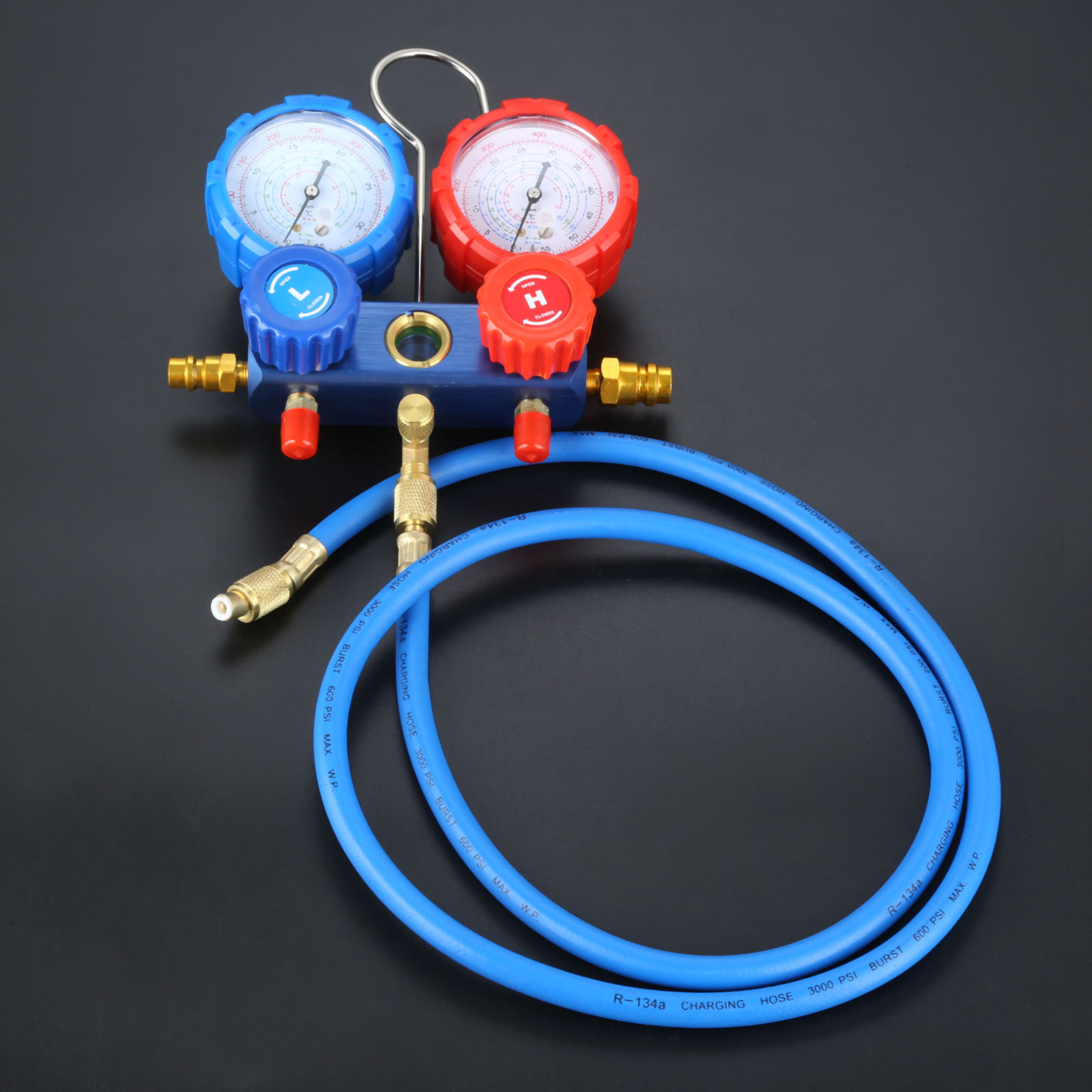 Image 5 - R134a R12 R22 R502 Manifold Gauge Set HVAC AC Refrigerant w/ 5ft Charging Hoses 36 Hoses R134 Quick Couplers+ACME Adapter 600Psi-in Air-conditioning Installation from Automobiles & Motorcycles