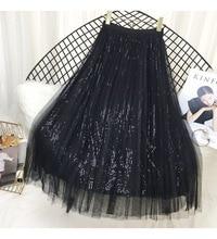 Summer High Waist Sequin Skirt Golden New Pleated Long Spring Korean Solid Black 2019