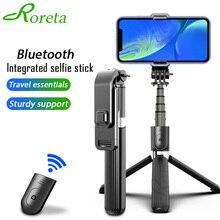 عصا سيلفي لاسلكية محمولة من Roreta مزودة بتقنية البلوتوث مع حامل ثلاثي القوائم قابلة للتمديد قابلة للطي لهاتف iphone x 11 كاميرا صغيرة للعمل