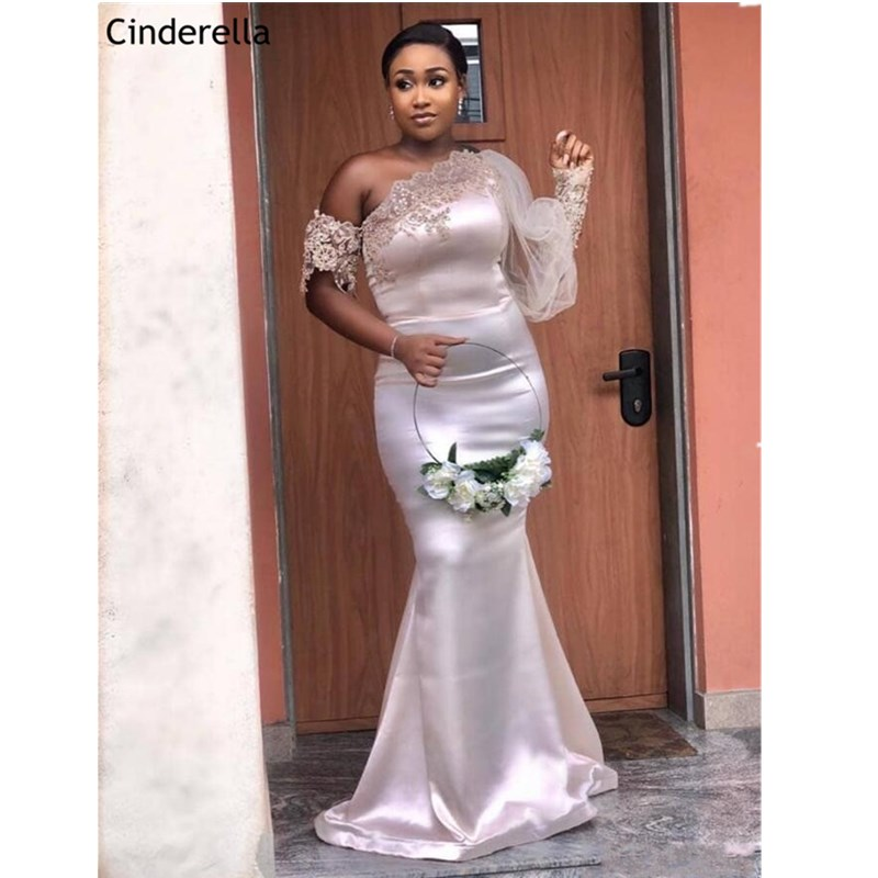 African Style One Shoulder Long Sleeves Lace Applique Silk Satin Mermaid Bridesmaid Dresses Wedding Party Bridesmaid Gowns