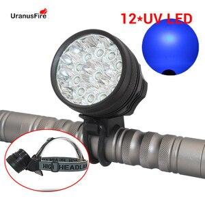 Uranusfire 12 * uv led farol da bicicleta luz 4000lm healight tocha uv led head lamp frontal lanterna à prova dwaterproof água ciclismo luz