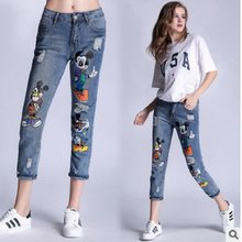 DISNEY jeans woman spring new printed Mickey hole large size women's foreign trade small feet jeans ripped jeans for women(China)
