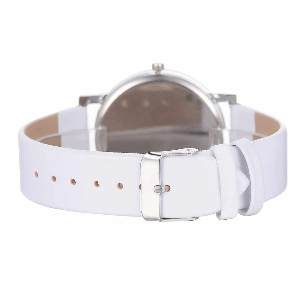 Reloj de pulsera de cuero de PU de cuarzo Casual para mujer reloj de pulsera reloj analógico con banda de poliuretano de gran número de moda para mujer Negro Azul/E