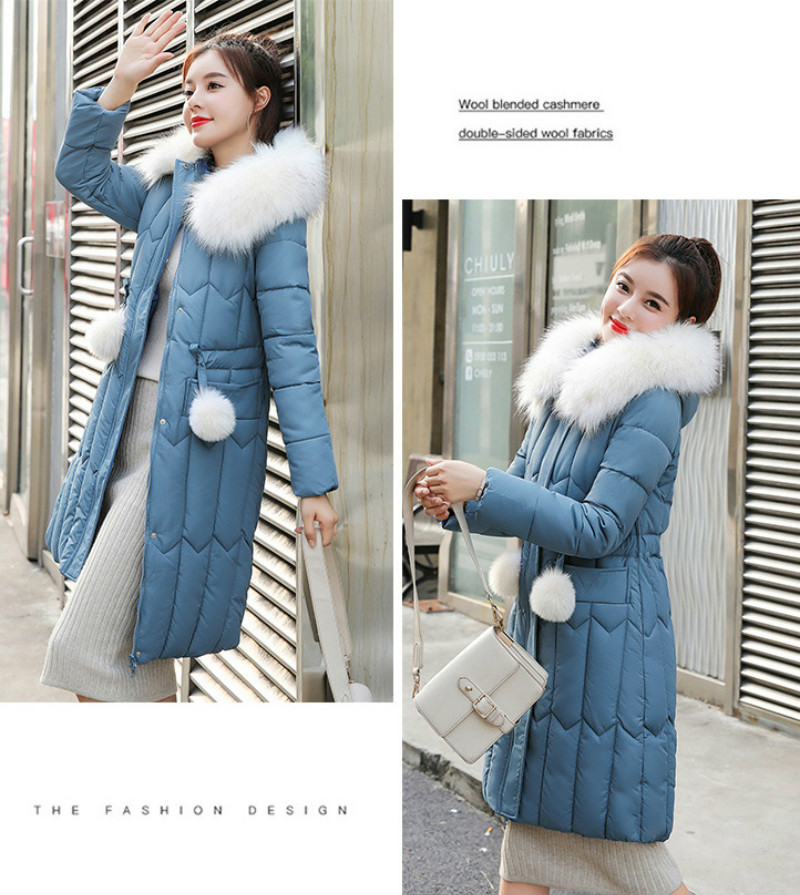 Plus size winter coat women padded cotton hooded women long jacket outwear slim white warm vintage female parka new 2019 DR1195 (16)