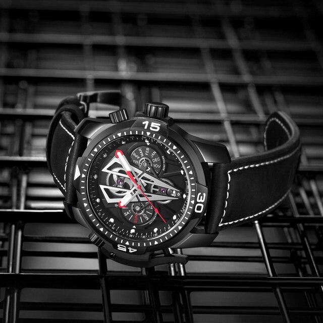 Reef tiger/rt nova chegada todo o preto marca de luxo à prova dwaterproof água relógio pulso aço inoxidável cronógrafo relogio masculino rga3591 3
